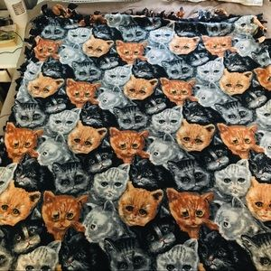 Homemade Cat Hand Knotted Blanket